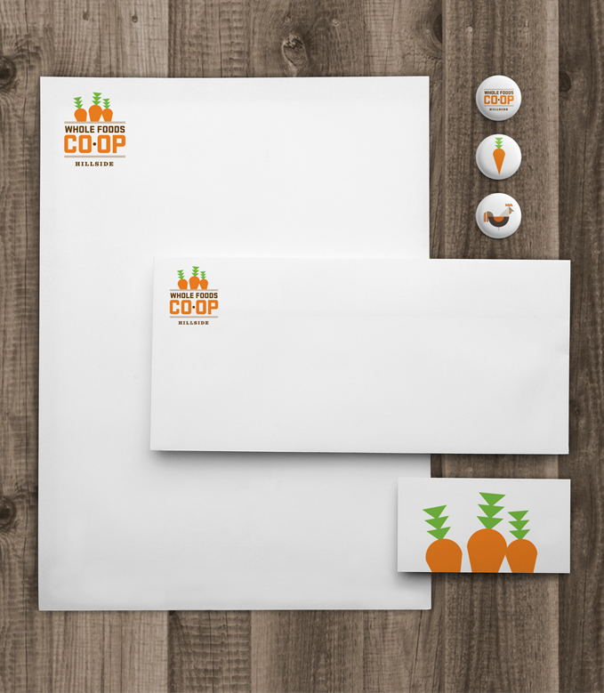 whole foods coop collateral buttons business cards letterhead