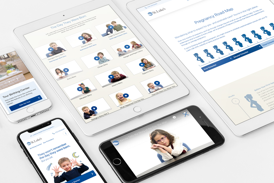 St. Luke's Birthing Center websit mockups on iPads and mobile phones